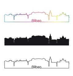 Bilbao skyline linear style with rainbow vector image vector image