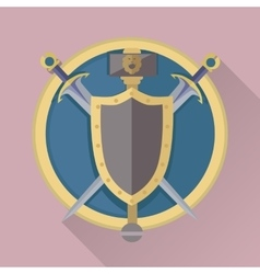 Cartoon game swords with shadow in golden circle vector