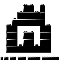 children plastic bricks toy house silhouette vector image