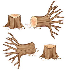 Dried wooden log and branch vector