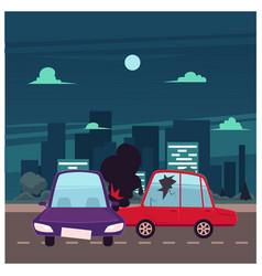flat cartoon car accident scene vector image
