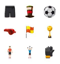 Football equipment icons set cartoon style vector