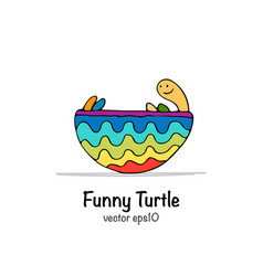 funny turtle sketch for your design vector image vector image