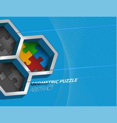 Geometric puzzle colors vector