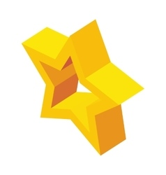 Glossy golden star icon isometric 3d style vector image vector image