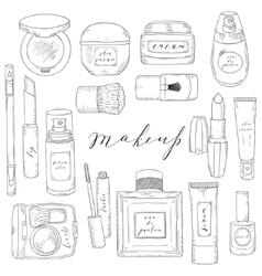Hand drawn cosmetics set beauty and makeup vector