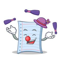 Juggling notebook character cartoon design vector