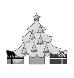Merry christmas happy tree star bells gift vector