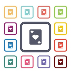 poker flat icons set vector image