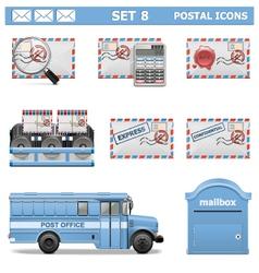Postal icons set 8 vector