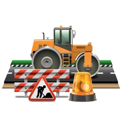 Road Construction with Road Roller vector image