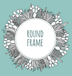 Round succulent cactus outline frame vector