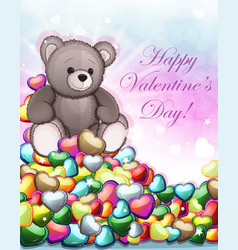 teddy bear and valentine hearts vector image