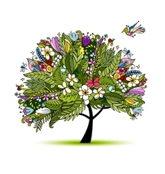 Tropical floral tree for your design vector