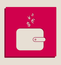 Wallet sign with currency symbols vector
