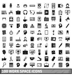 100 work space icons set simple style vector