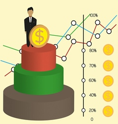Business infographic with 3d money chart and diagr vector