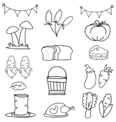 Doodle of thanksgiving hand draw set vector