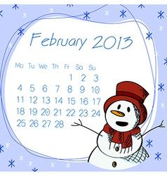 February 2013 snow man calendar vector image