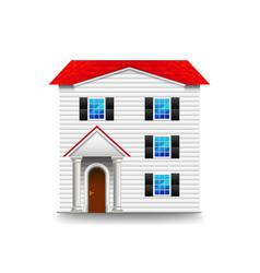 High three-storey house isolated on white vector
