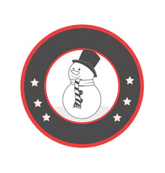 circular emblem with grayscale snowman vector image