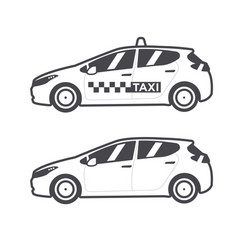 Taxi car icon flat line vector