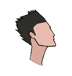 profile man young hair style character vector image