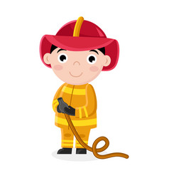 Smiling little boy in fireman uniform with hose vector