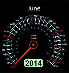 2014 year calendar speedometer car in June vector image