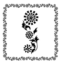 Flower frame black ornament vector