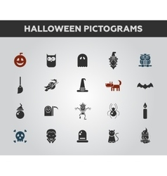 Set of flat design halloween icons and pictograms vector