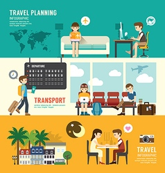 Business travel design concept people set planning vector