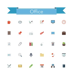 Office flat icons vector