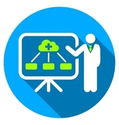 Health care structure report flat round icon with vector