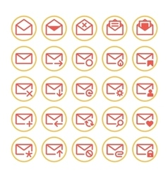 Red mail icons vector