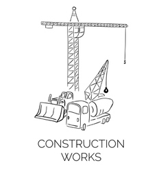 Doodle construction works sign vector