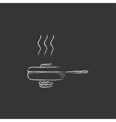 Frying pan with cover drawn in chalk icon vector