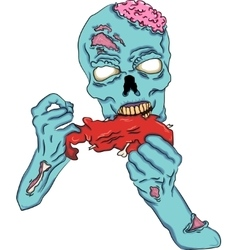 Zombie eating a piece of meat vector