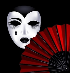 Black-white mask and red fan vector