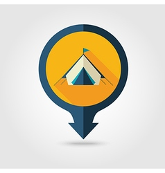 Tent pin map flat icon summer vacation vector