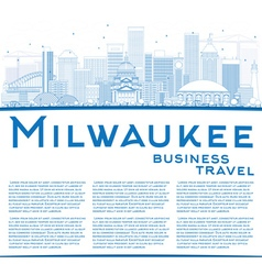 Outline milwaukee skyline with blue buildings vector