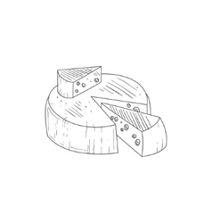 Round cheese with a segment cut out hand drawn vector