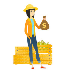 Asian farmer holding a money bag vector