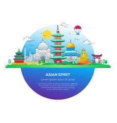 Asian spirit - line travel vector