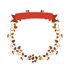 Autumn ornament creepers with label vector