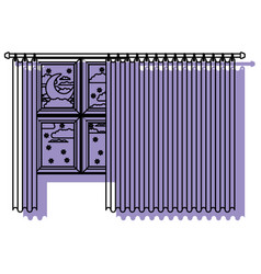 big window with curtain and night landscape purple vector image