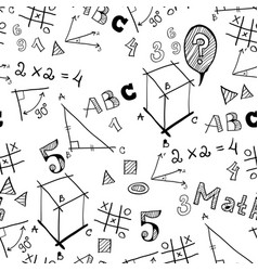 Black and white school doodle pattern vector