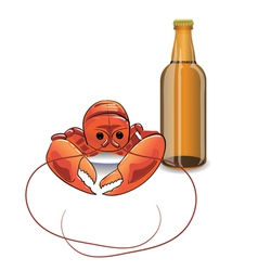 Bottle of beer and lobster vector