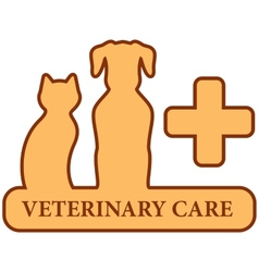 brown isolated veterinary care symbol vector image
