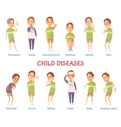 Child diseases characters set vector